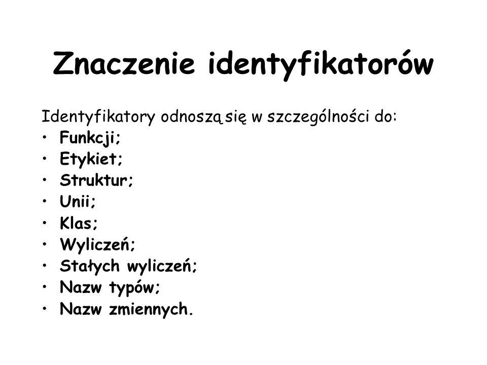 Znaczenie identyfikatorów Identyfikatory odnoszą się w szczególności do: Funkcji; Etykiet; Struktur; Unii; Klas; Wyliczeń; Stałych wyliczeń; Nazw typów; Nazw zmiennych.