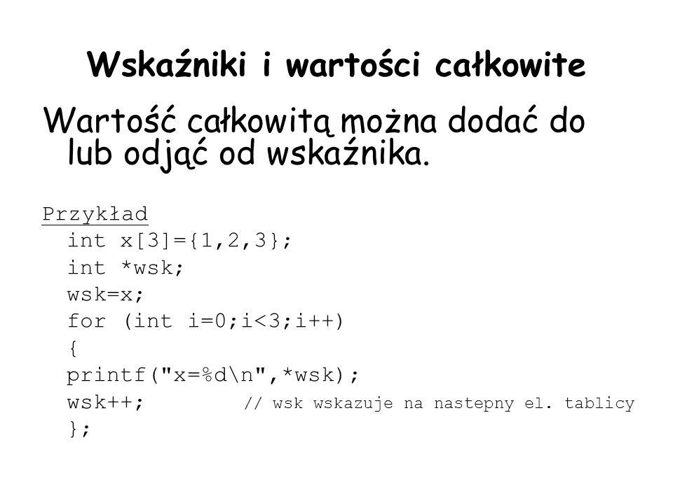 Wskaźniki i wartości całkowite Wartość całkowitą można dodać do lub odjąć od wskaźnika. Przykład int x[3]={1,2,3}; int *wsk; wsk=x; for (int i=0;i<3;i