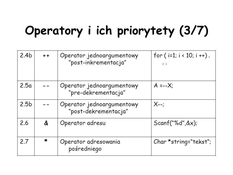 Operatory i ich priorytety (3/7) 2.4b++Operator jednoargumentowy post-inkrementacja for ( i=1; i < 10; i ++)... 2.5a--Operator jednoargumentowy pre-de