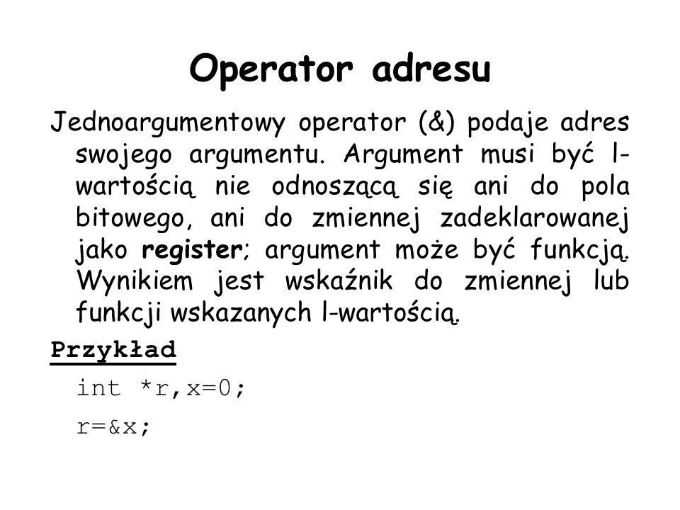 Operator adresu Jednoargumentowy operator (&) podaje adres swojego argumentu. Argument musi być l- wartością nie odnoszącą się ani do pola bitowego, a