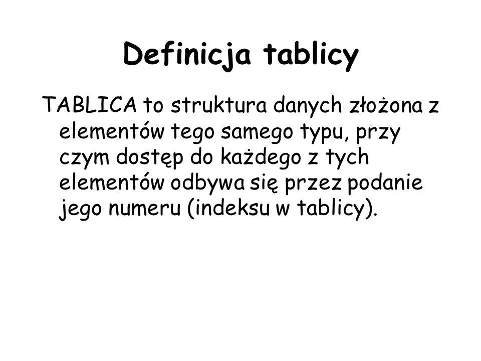 Definicja tablicy TABLICA to struktura danych złożona z elementów tego samego typu, przy czym dostęp do każdego z tych elementów odbywa się przez podanie jego numeru (indeksu w tablicy).