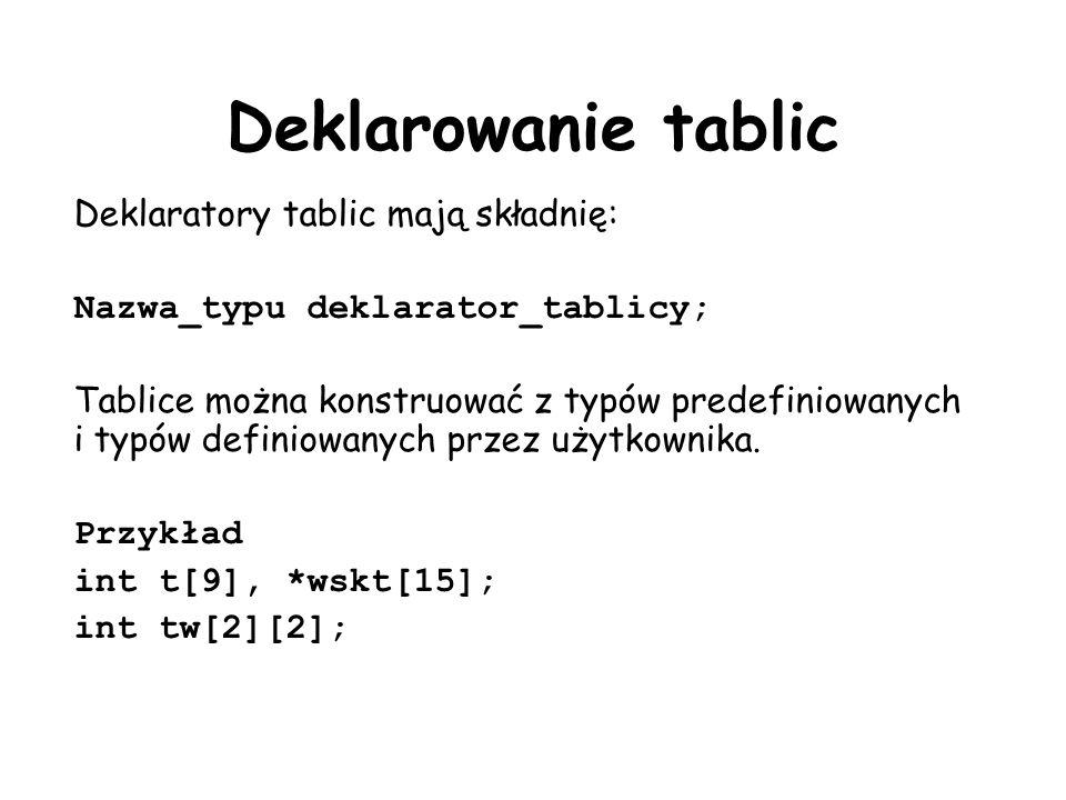 Deklarowanie tablic Deklaratory tablic mają składnię: Nazwa_typu deklarator_tablicy; Tablice można konstruować z typów predefiniowanych i typów definiowanych przez użytkownika.