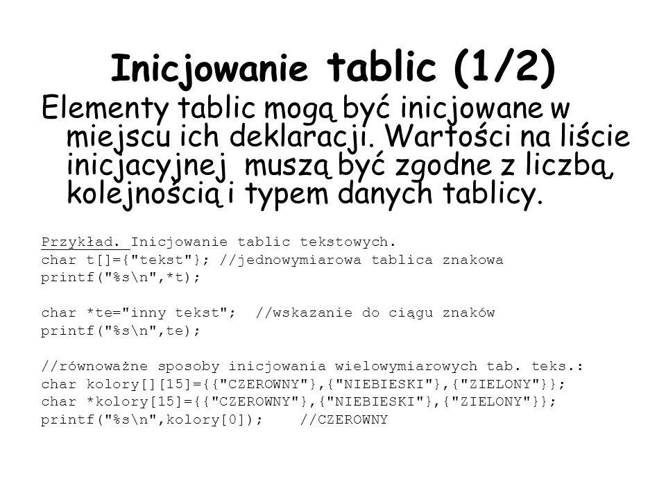 Inicjowanie tablic (1/2) Elementy tablic mogą być inicjowane w miejscu ich deklaracji.