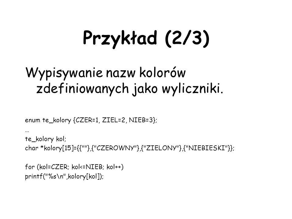 Przykład (2/3) Wypisywanie nazw kolorów zdefiniowanych jako wyliczniki.