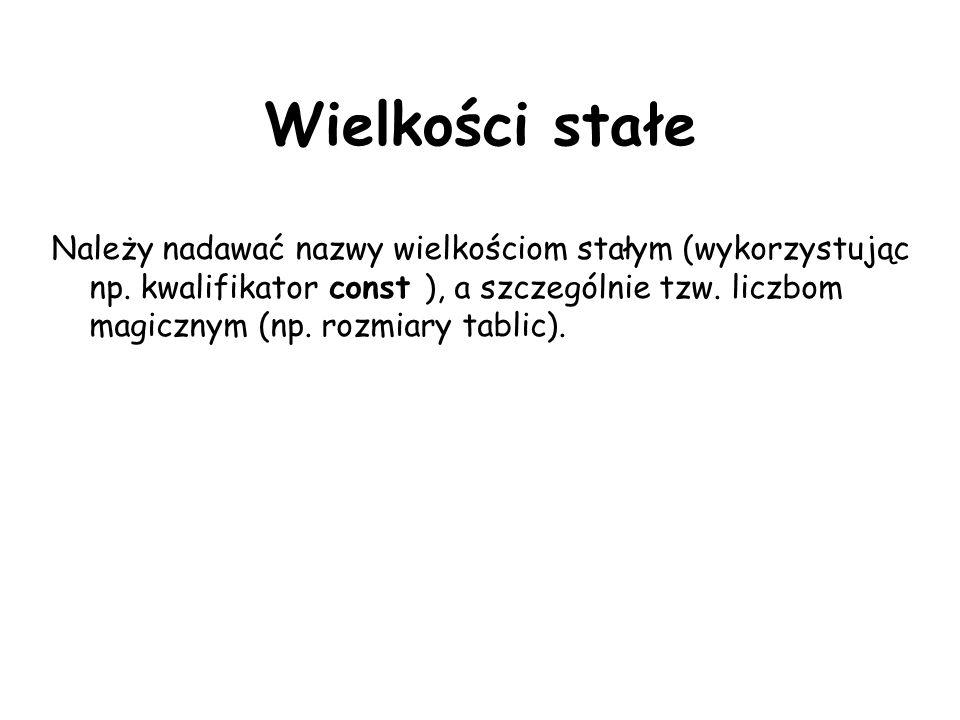 Wielkości stałe Należy nadawać nazwy wielkościom stałym (wykorzystując np.