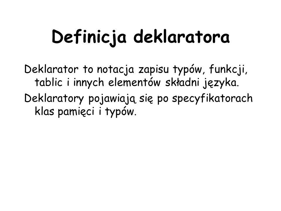 Definicja deklaratora Deklarator to notacja zapisu typów, funkcji, tablic i innych elementów składni języka. Deklaratory pojawiają się po specyfikator