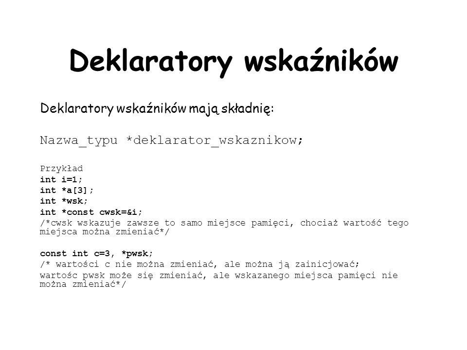 Deklaratory wskaźników Deklaratory wskaźników mają składnię: Nazwa_typu *deklarator_wskaznikow; Przykład int i=1; int *a[3]; int *wsk; int *const cwsk