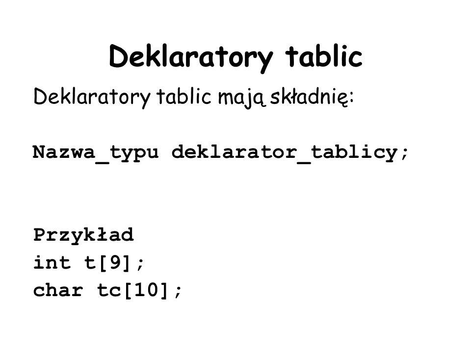 Deklaratory tablic Deklaratory tablic mają składnię: Nazwa_typu deklarator_tablicy; Przykład int t[9]; char tc[10];