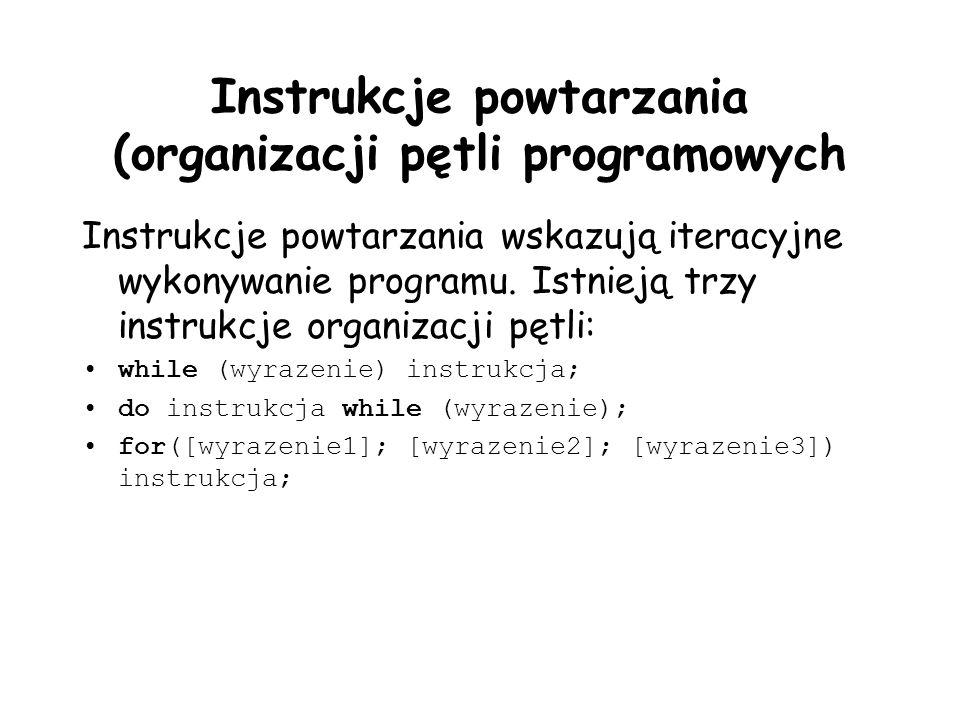 Instrukcje powtarzania (organizacji pętli programowych Instrukcje powtarzania wskazują iteracyjne wykonywanie programu. Istnieją trzy instrukcje organ