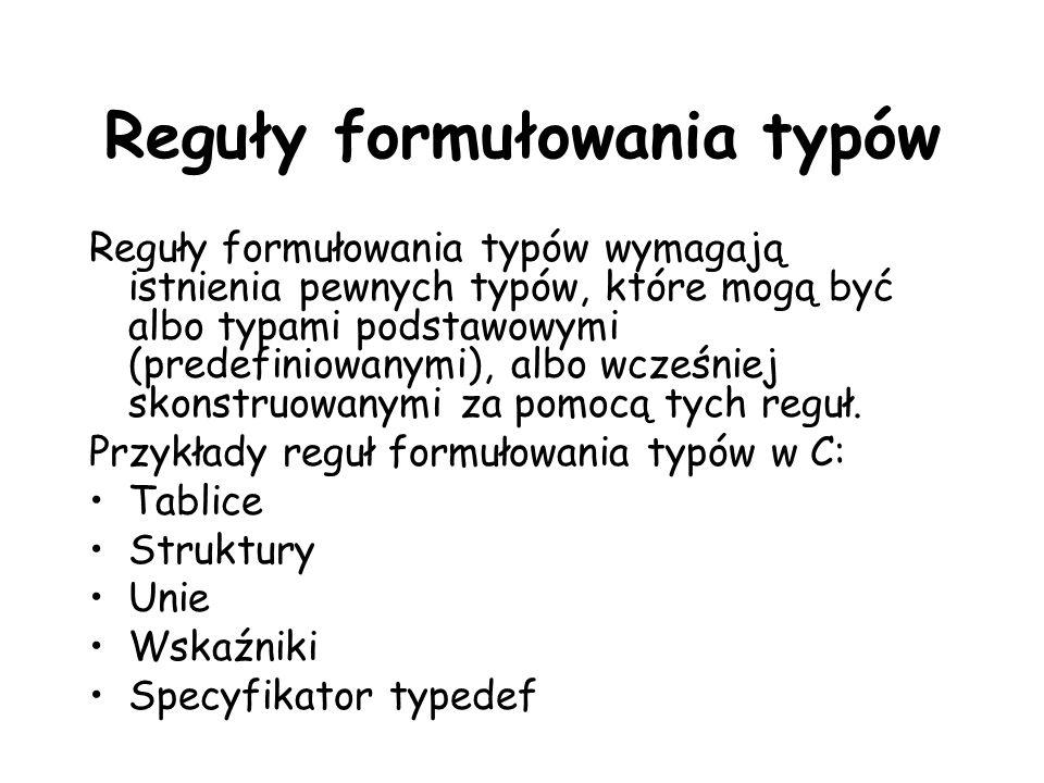 Reguły formułowania typów Reguły formułowania typów wymagają istnienia pewnych typów, które mogą być albo typami podstawowymi (predefiniowanymi), albo