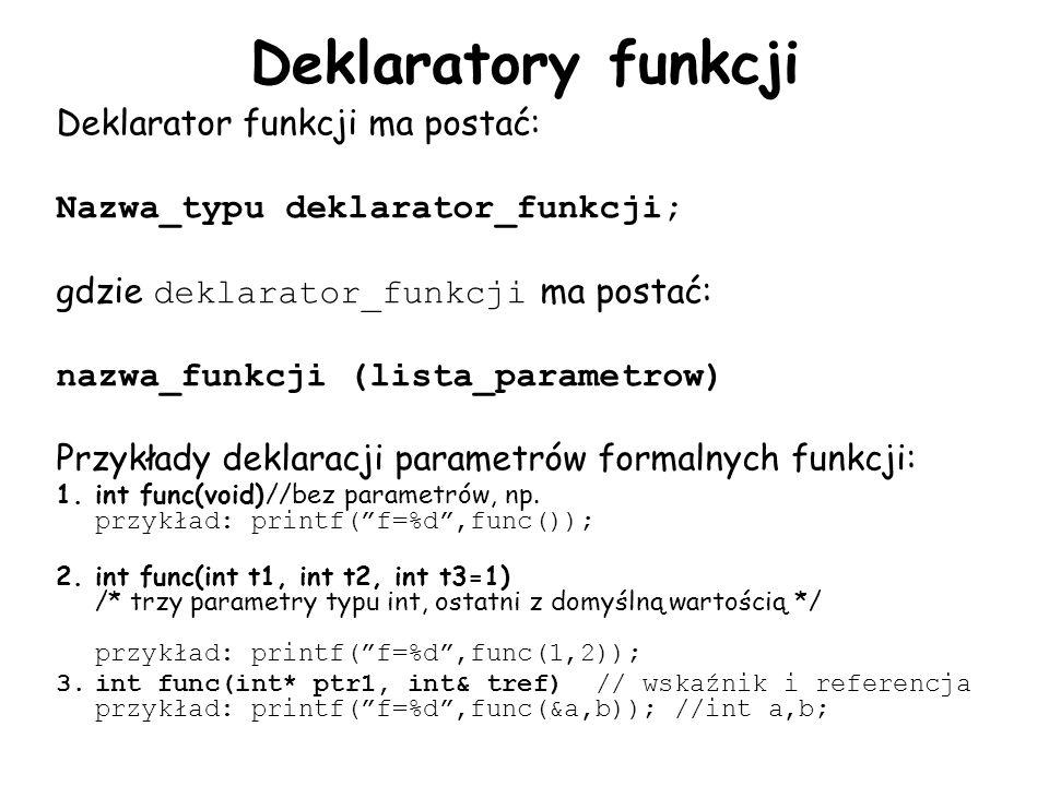 Deklaratory funkcji Deklarator funkcji ma postać: Nazwa_typu deklarator_funkcji; gdzie deklarator_funkcji ma postać: nazwa_funkcji (lista_parametrow) Przykłady deklaracji parametrów formalnych funkcji: 1.int func(void)//bez parametrów, np.