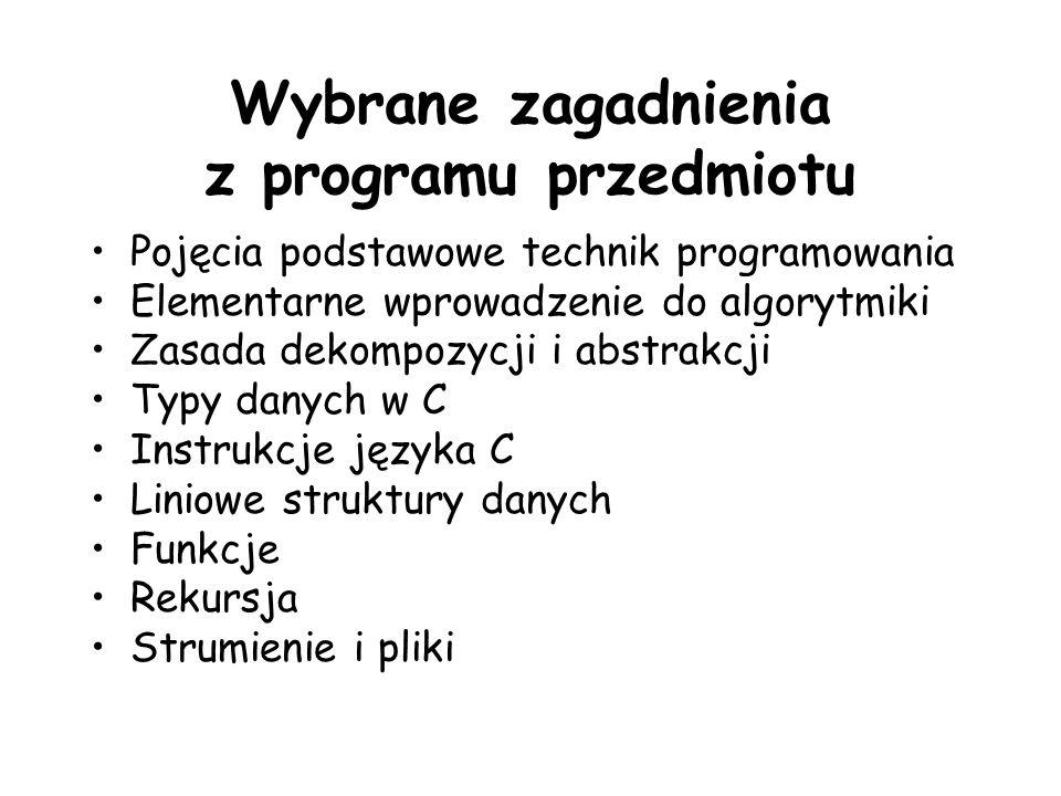 Wybrane zagadnienia z programu przedmiotu Pojęcia podstawowe technik programowania Elementarne wprowadzenie do algorytmiki Zasada dekompozycji i abstr