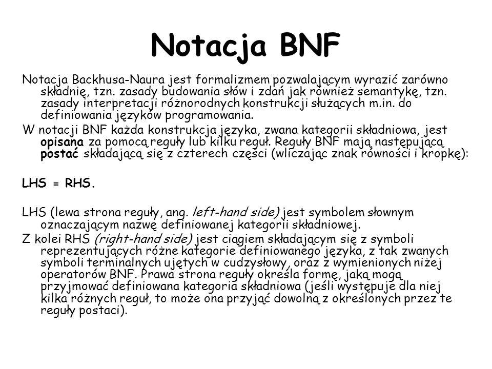 Notacja BNF Notacja Backhusa-Naura jest formalizmem pozwalającym wyrazić zarówno składnię, tzn. zasady budowania słów i zdań jak również semantykę, tz