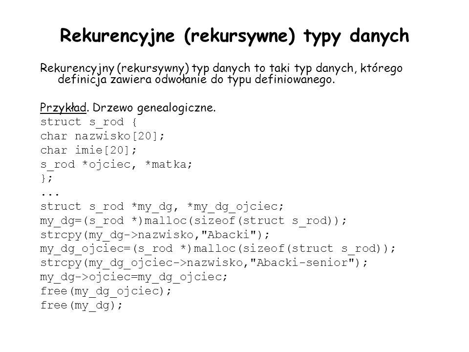 Rekurencyjne (rekursywne) typy danych Rekurencyjny (rekursywny) typ danych to taki typ danych, którego definicja zawiera odwołanie do typu definiowane
