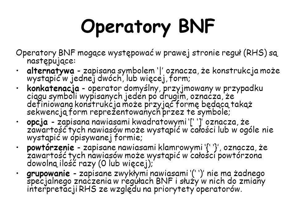 Operatory BNF Operatory BNF mogące występować w prawej stronie reguł (RHS) są następujące: alternatywa - zapisana symbolem | oznacza, że konstrukcja może wystąpić w jednej dwóch, lub więcej, form; konkatenacja - operator domyślny, przyjmowany w przypadku ciągu symboli wypisanych jeden po drugim, oznacza, że definiowana konstrukcja może przyjąć formę będącą takąż sekwencją form reprezentowanych przez te symbole; opcja - zapisana nawiasami kwadratowymi [ ] oznacza, że zawartość tych nawiasów może wystąpić w całości lub w ogóle nie wystąpić w opisywanej formie; powtórzenie - zapisane nawiasami klamrowymi { }, oznacza, że zawartość tych nawiasów może wystąpić w całości powtórzona dowolną ilość razy (0 lub więcej); grupowanie - zapisane zwykłymi nawiasami ( ) nie ma żadnego specjalnego znaczenia w regułach BNF i służy w nich do zmiany interpretacji RHS ze względu na priorytety operatorów.