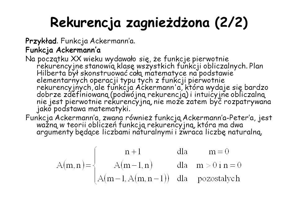 Rekurencja zagnieżdżona (2/2) Przykład. Funkcja Ackermanna. Funkcja Ackermanna Na początku XX wieku wydawało się, że funkcje pierwotnie rekurencyjne s