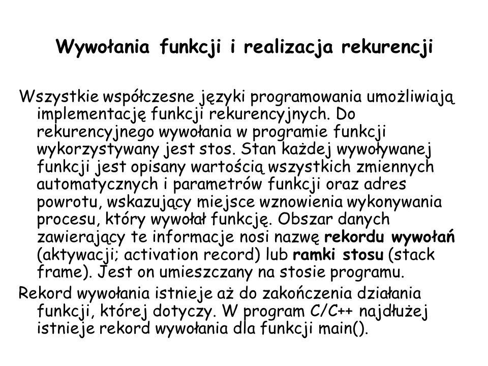 Wywołania funkcji i realizacja rekurencji Wszystkie współczesne języki programowania umożliwiają implementację funkcji rekurencyjnych.