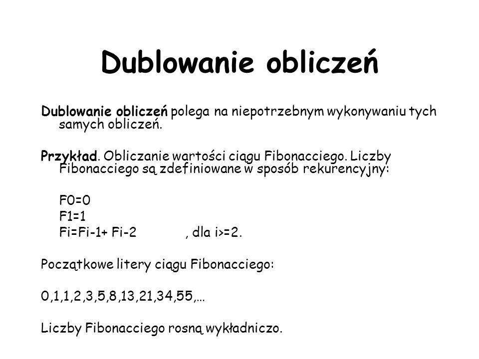 Dublowanie obliczeń Dublowanie obliczeń polega na niepotrzebnym wykonywaniu tych samych obliczeń. Przykład. Obliczanie wartości ciągu Fibonacciego. Li
