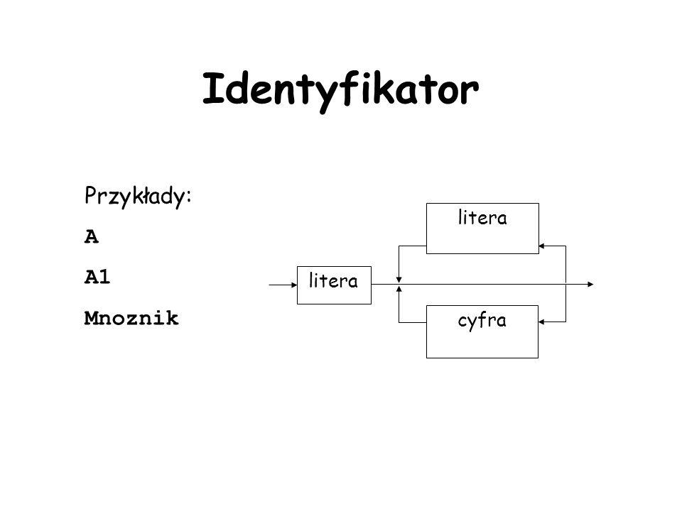 Identyfikator Przykłady: A A1 Mnoznik litera cyfra