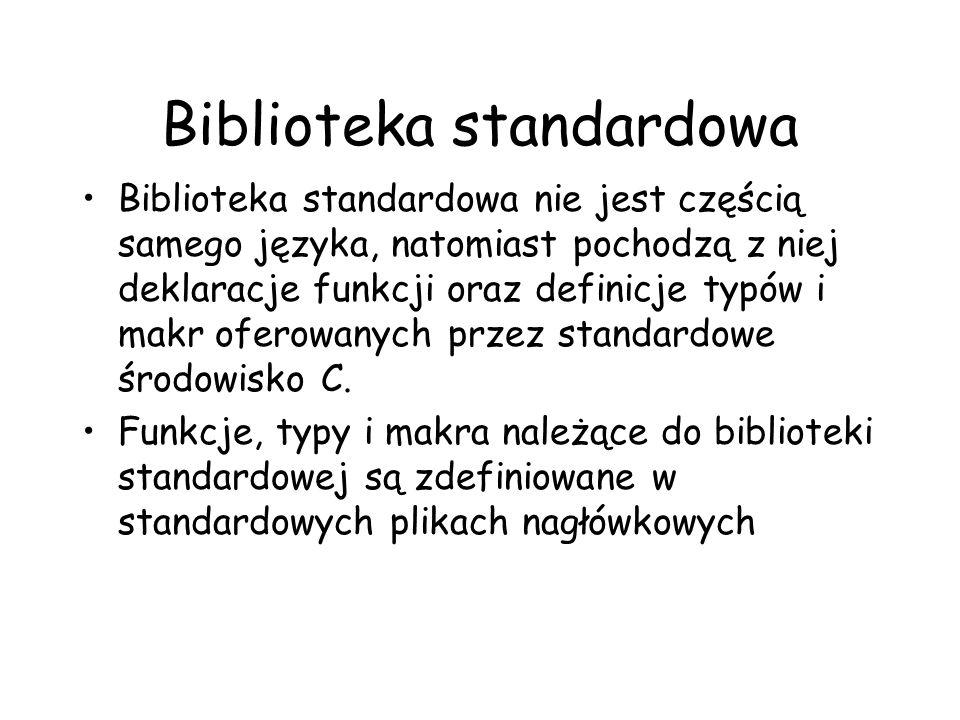 Biblioteka standardowa nie jest częścią samego języka, natomiast pochodzą z niej deklaracje funkcji oraz definicje typów i makr oferowanych przez stan