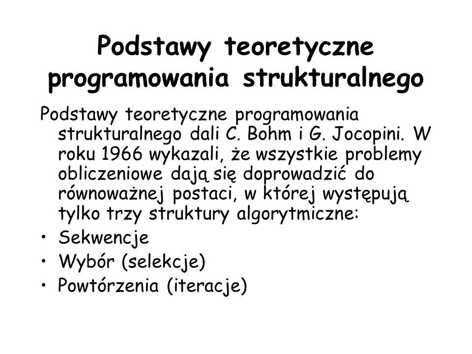 Podstawy teoretyczne programowania strukturalnego Podstawy teoretyczne programowania strukturalnego dali C. Bohm i G. Jocopini. W roku 1966 wykazali,