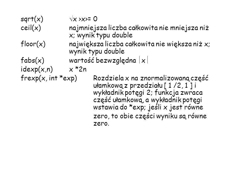 sqrt(x) x >x>= 0 ceil(x)najmniejsza liczba całkowita nie mniejsza niż x; wynik typu double floor(x)największa liczba całkowita nie większa niż x; wynik typu double fabs(x)wartość bezwzględna x idexp(x,n)x *2n frexp(x, int *exp)Rozdziela x na znormalizowaną część ułamkową z przedziału [ 1 /2, 1 ] i wykładnik potęgi 2; funkcja zwraca część ułamkową, a wykładnik potęgi wstawia do *exp; jeśli x jest równe zero, to obie części wyniku są równe zero.
