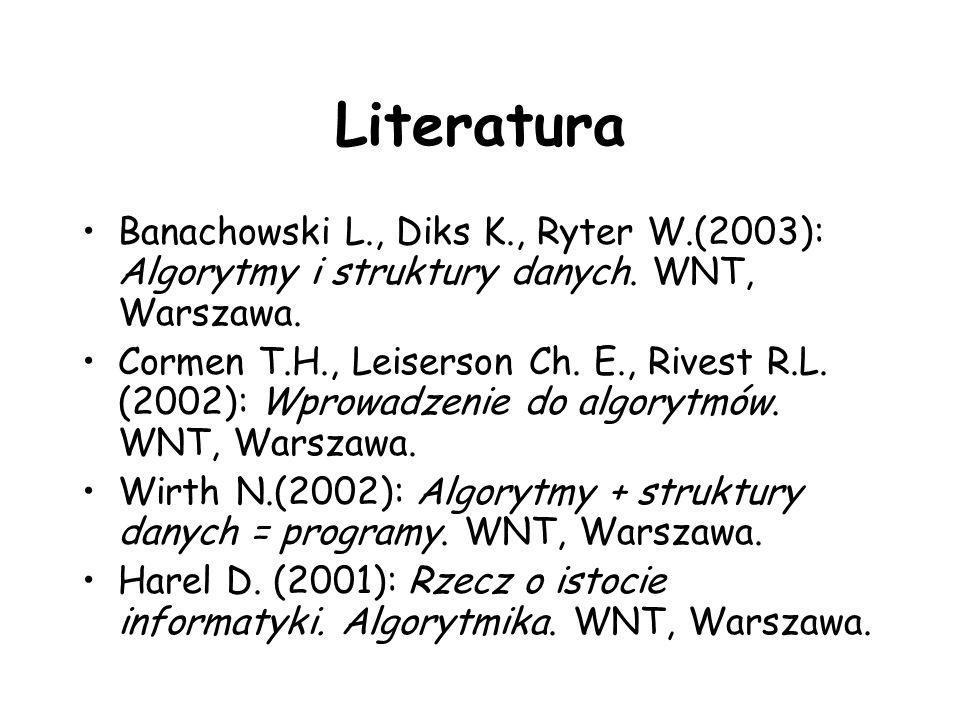 Literatura Banachowski L., Diks K., Ryter W.(2003): Algorytmy i struktury danych. WNT, Warszawa. Cormen T.H., Leiserson Ch. E., Rivest R.L. (2002): Wp