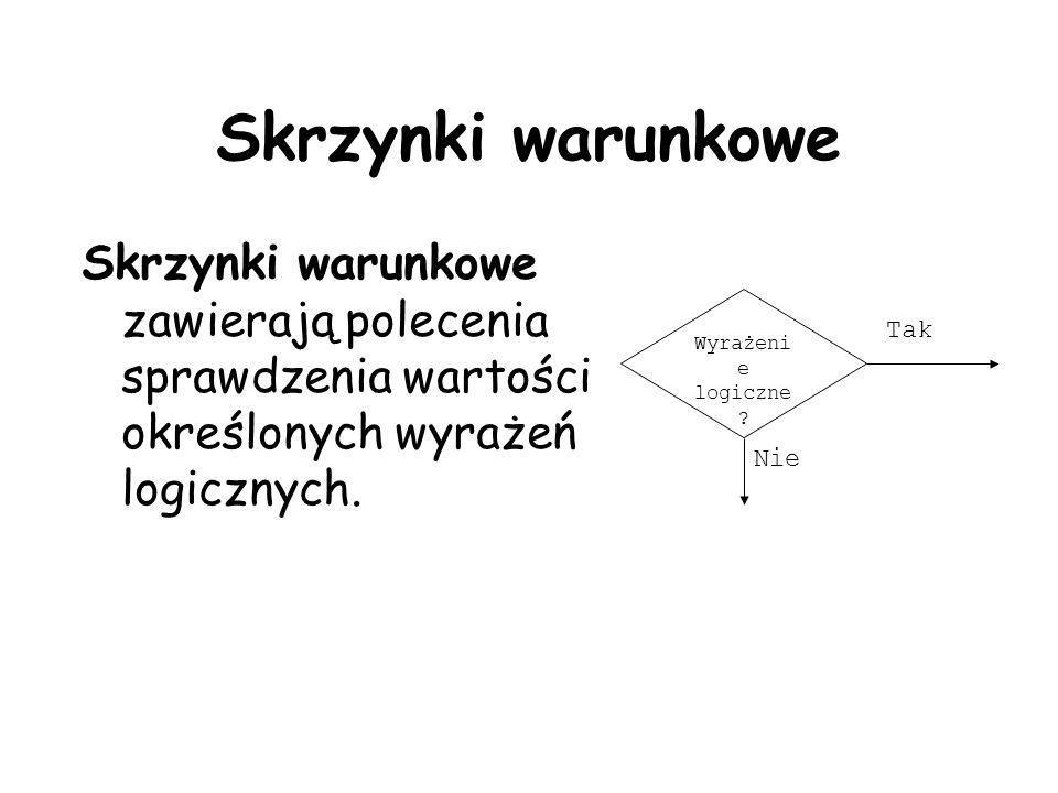 Skrzynki warunkowe Skrzynki warunkowe zawierają polecenia sprawdzenia wartości określonych wyrażeń logicznych.