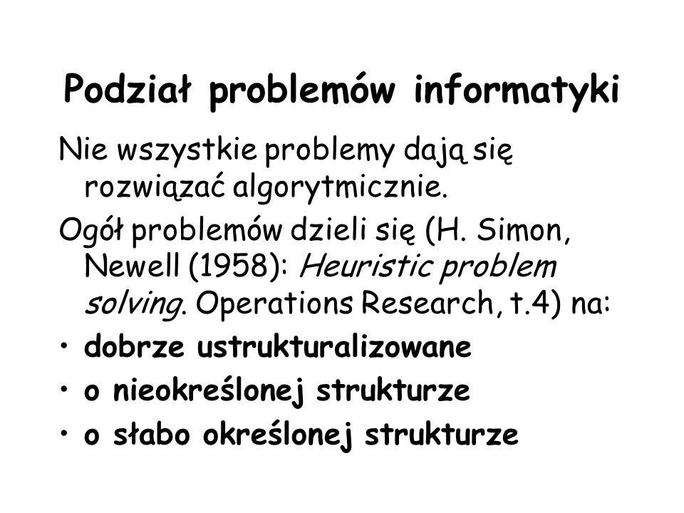Podział problemów informatyki Nie wszystkie problemy dają się rozwiązać algorytmicznie. Ogół problemów dzieli się (H. Simon, Newell (1958): Heuristic