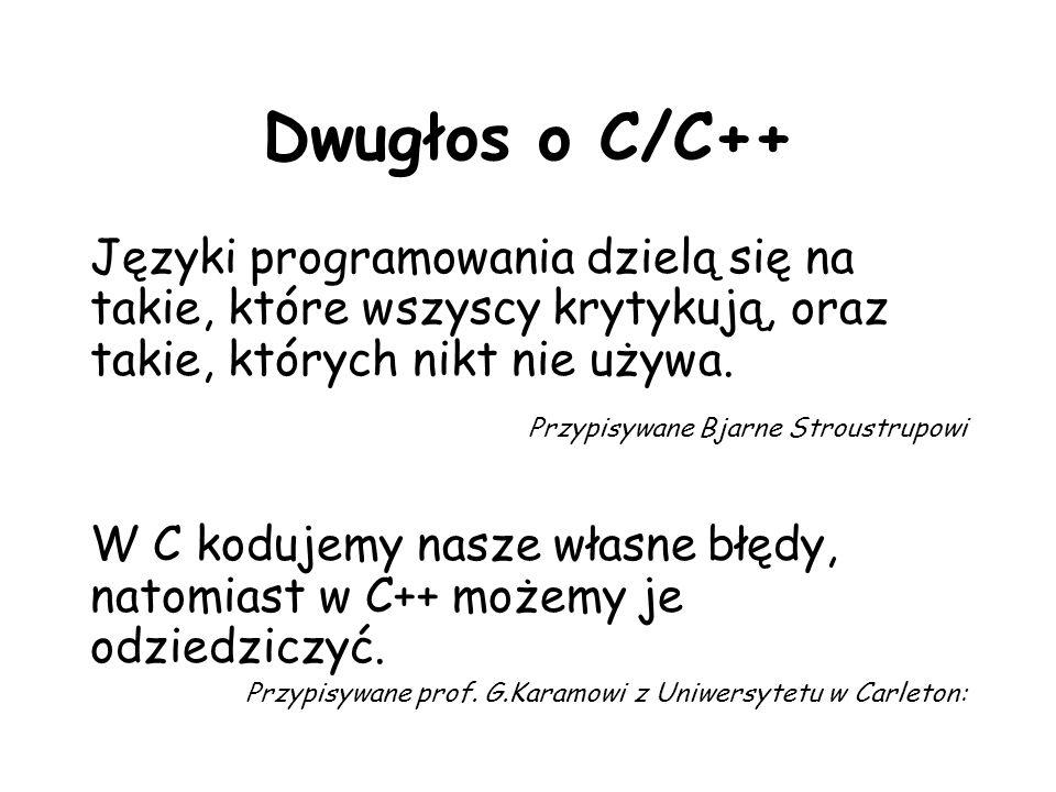 Funkcja strchr() char *strrchr(char *cs,int c) - zwraca wskaźnik do ostatniego wystąpienia znaku c w tekście cs lub NULL, gdy ten znak nie występuje Przykład int main(void) { char string[15]; char *ptr, c = r ; strcpy(string, Oto string ); ptr = strchr(string, c); if (ptr) printf( Znak %c jest na pozycji: %d\n , c, ptr-string); else printf( Nie ma takiego znaku\n ); return 0;}