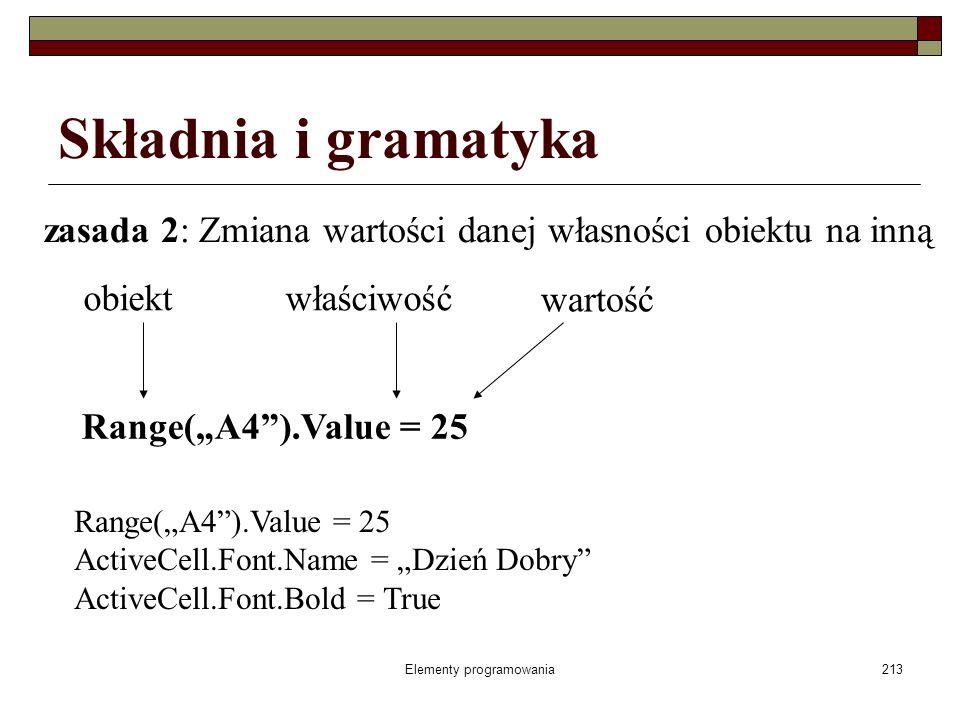 Elementy programowania213 Składnia i gramatyka zasada 2: Zmiana wartości danej własności obiektu na inną Range(A4).Value = 25 obiektwłaściwość wartość