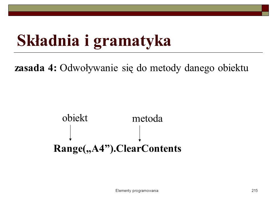 Elementy programowania215 zasada 4: Odwoływanie się do metody danego obiektu Składnia i gramatyka obiekt metoda Range(A4).ClearContents