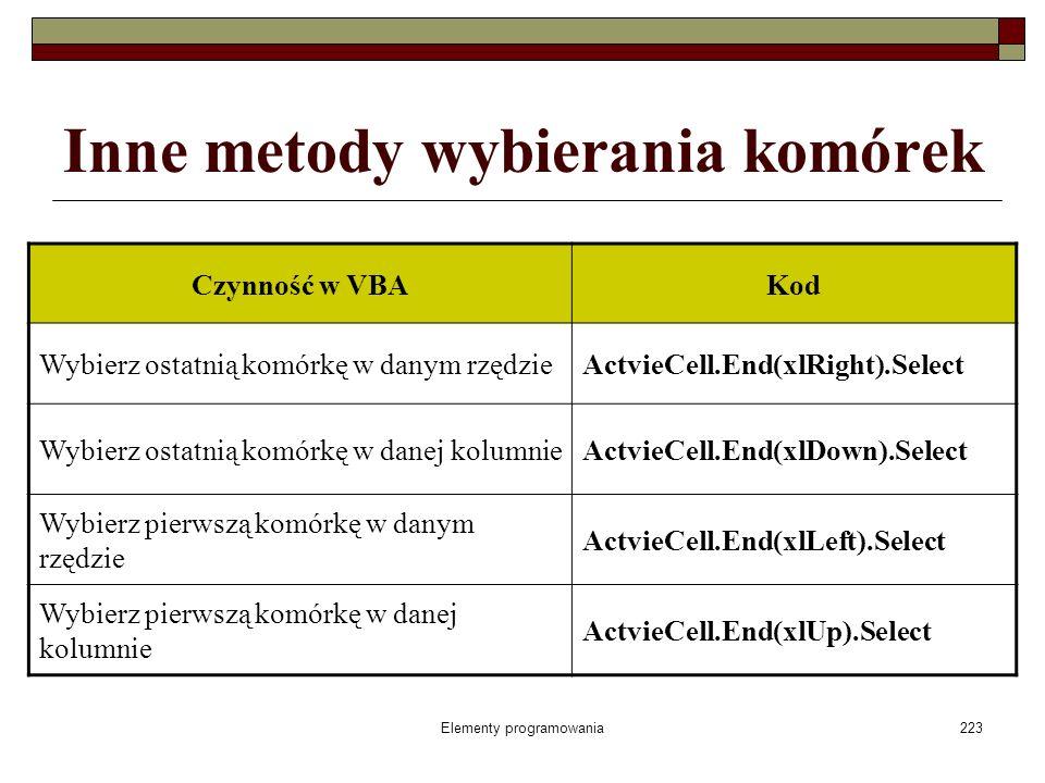 Elementy programowania223 Inne metody wybierania komórek Czynność w VBAKod Wybierz ostatnią komórkę w danym rzędzieActvieCell.End(xlRight).Select Wybi