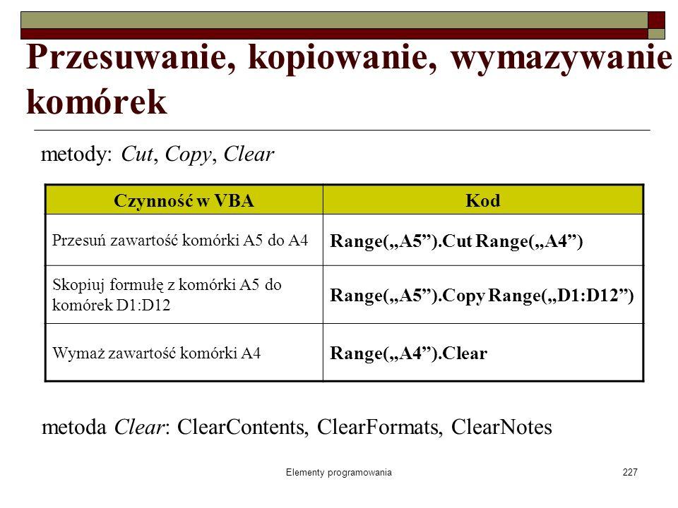 Elementy programowania227 Przesuwanie, kopiowanie, wymazywanie komórek metody: Cut, Copy, Clear Czynność w VBAKod Przesuń zawartość komórki A5 do A4 R