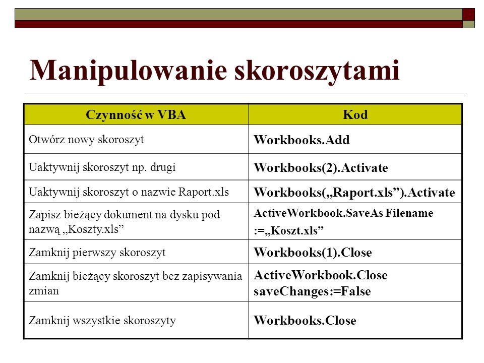 Manipulowanie skoroszytami Czynność w VBAKod Otwórz nowy skoroszyt Workbooks.Add Uaktywnij skoroszyt np. drugi Workbooks(2).Activate Uaktywnij skorosz