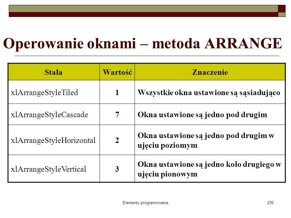 Elementy programowania230 Operowanie oknami – metoda ARRANGE StałaWartośćZnaczenie xlArrangeStyleTiled1Wszystkie okna ustawione są sąsiadująco xlArran