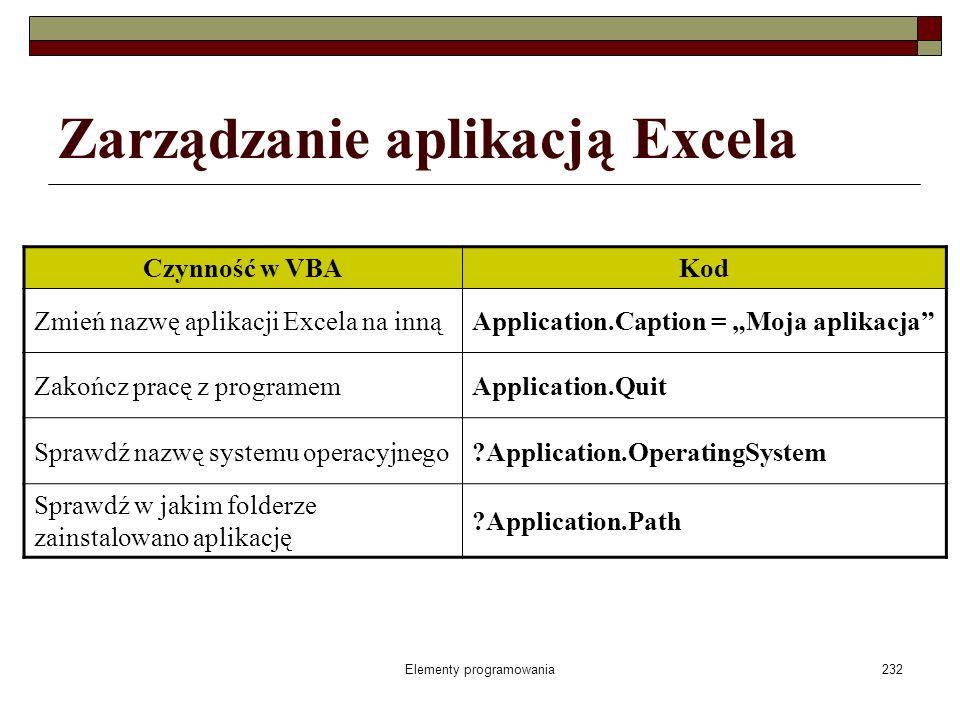 Elementy programowania232 Zarządzanie aplikacją Excela Czynność w VBAKod Zmień nazwę aplikacji Excela na innąApplication.Caption = Moja aplikacja Zako