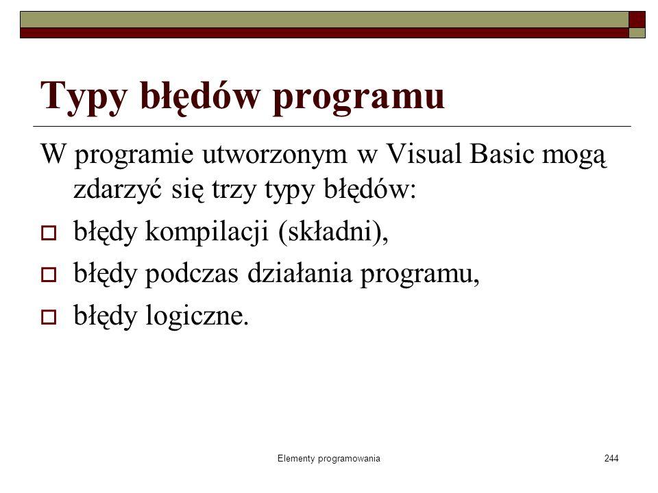 Elementy programowania244 Typy błędów programu W programie utworzonym w Visual Basic mogą zdarzyć się trzy typy błędów: błędy kompilacji (składni), bł