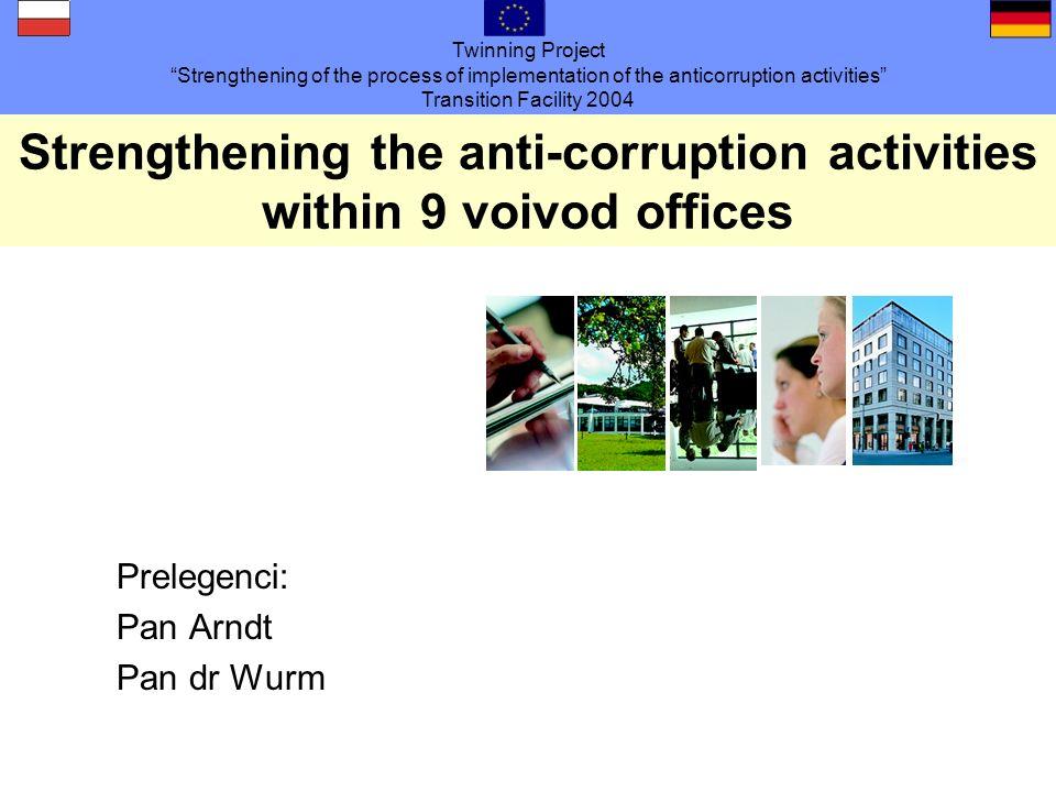 Twinning Project Strengthening of the process of implementation of the anticorruption activities Transition Facility 2004 Blok: Rozpoznać korupcję Czy w Państwa obszarze są również takie przykłady, które uważają Państwo za krytyczne i / lub wymagające uregulowania.