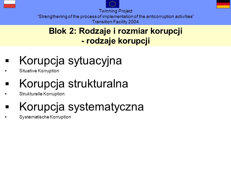 Twinning Project Strengthening of the process of implementation of the anticorruption activities Transition Facility 2004 Blok 2: Rodzaje i rozmiar korupcji - rodzaje korupcji Korupcja sytuacyjna Situative Korruption Korupcja strukturalna Strukturelle Korruption Korupcja systematyczna Systematische Korruption