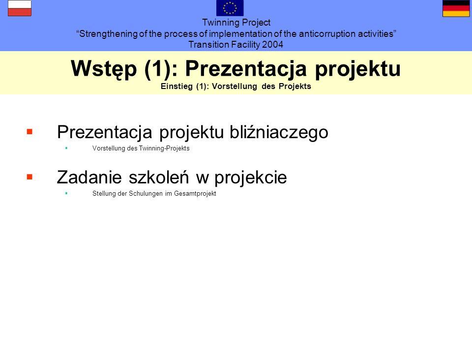 Twinning Project Strengthening of the process of implementation of the anticorruption activities Transition Facility 2004 Wstęp (2): Program seminarium Einstieg (2) Seminarprogramm 1.