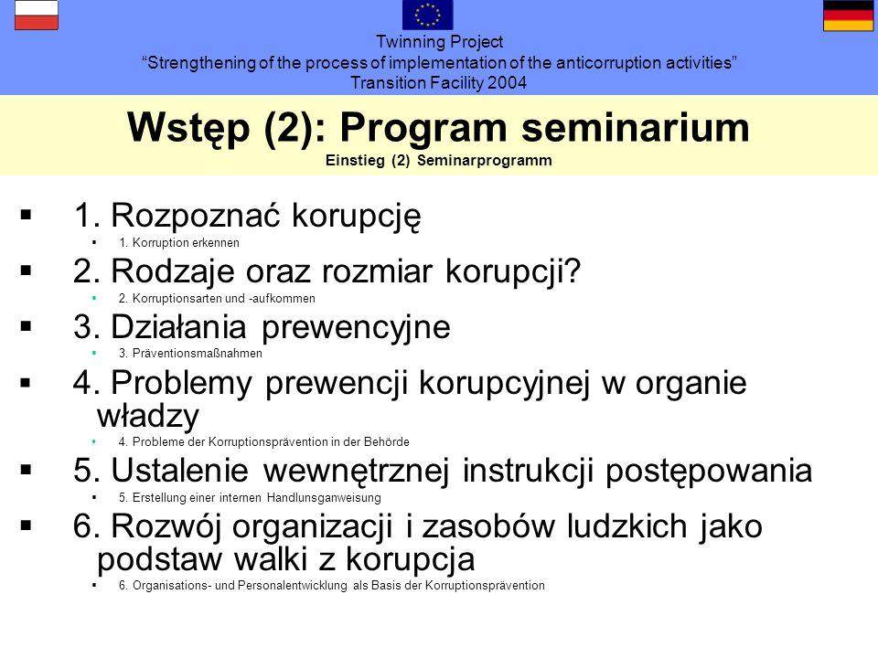 Twinning Project Strengthening of the process of implementation of the anticorruption activities Transition Facility 2004 Wstęp (3) Organizacja seminarium Dzień pierwszy: 10.00 -16.00 przerwa obiadowa: 12:30-13.30 Dzień drugi: 9.00-15.00 przerwa obiadowa: 12:30-13.30 Przerwy na kawę i na papierosa do ustalenia!