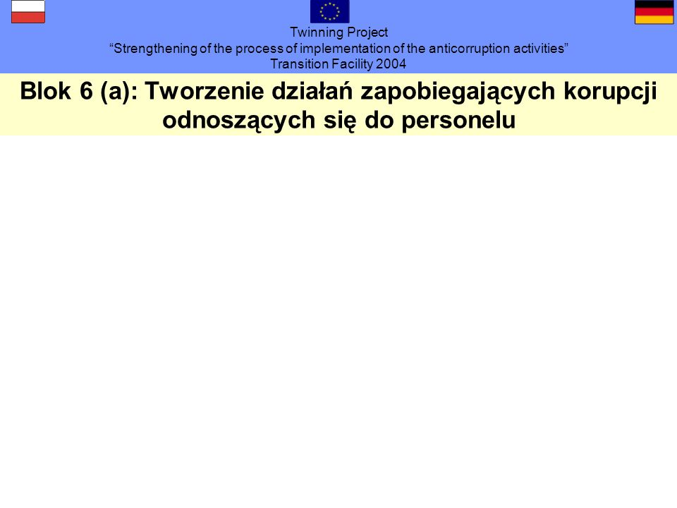 Twinning Project Strengthening of the process of implementation of the anticorruption activities Transition Facility 2004 Blok 6 (a): Tworzenie działa