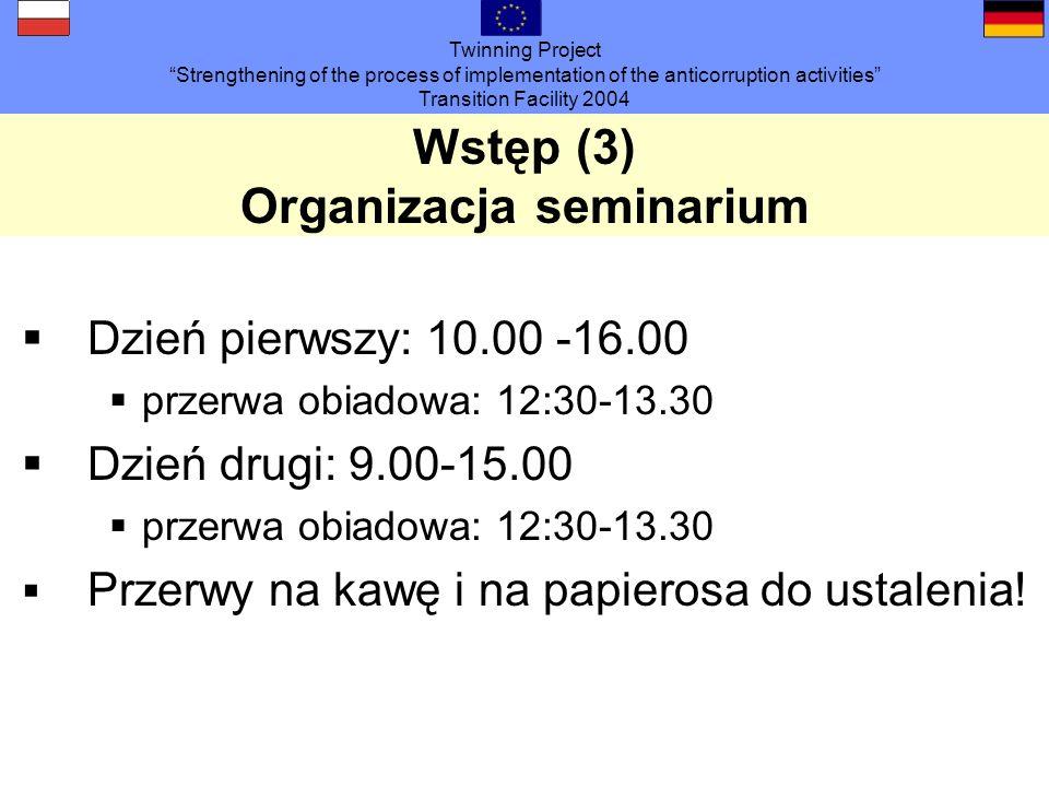 Twinning Project Strengthening of the process of implementation of the anticorruption activities Transition Facility 2004 Wstęp (4): Runda prezentacyjna Jak się Pani/Pan nazywa.