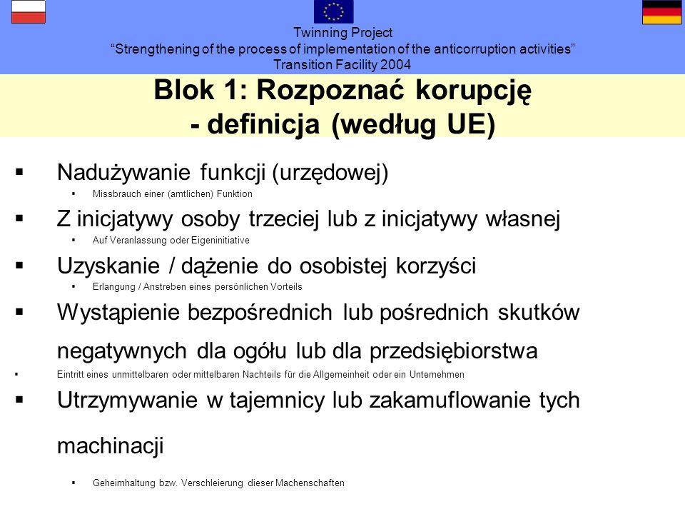 Twinning Project Strengthening of the process of implementation of the anticorruption activities Transition Facility 2004 Blok 3: Działania prewencyjne (5) - prawne uwarunkowania ramowe Konwencja ONZ UN-Konvention Konwencja ONZ wymierzona przeciw korupcji Europejskie wytyczne prawne Europarechtliche Vorgaben Konwencja o ochronie interesów finansowych UE Konwencja o zwalczaniu łapownictwa wśród urzędników UE lub zaangażowanych krajów członkowskich