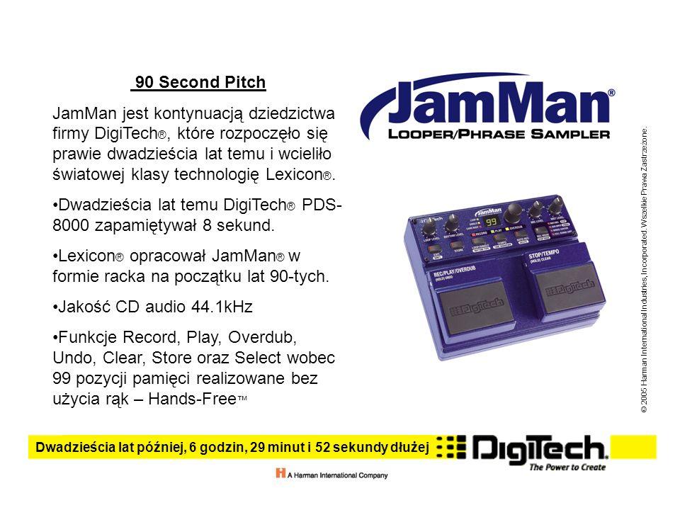 Dwadzieścia lat później, 6 godzin, 29 minut i 52 sekundy dłużej © 2005 Harman International Industries, Incorporated. Wszelkie Prawa Zastrzeżone. 90 S