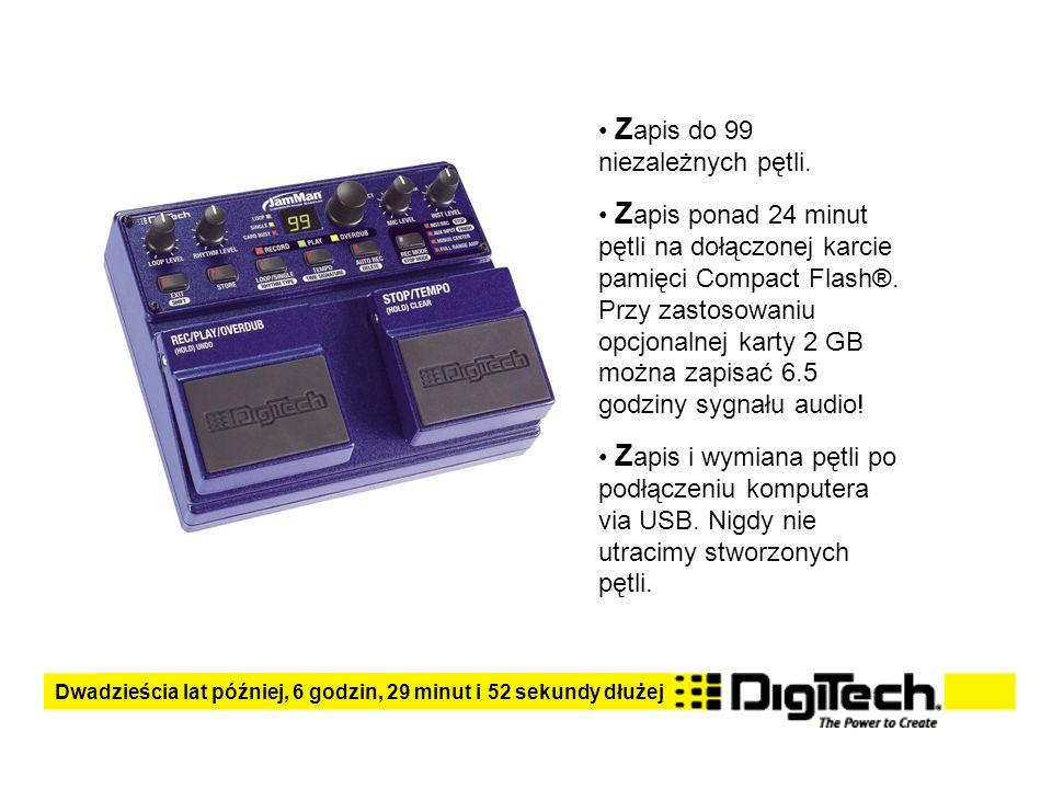 Z apis do 99 niezależnych pętli. Z apis ponad 24 minut pętli na dołączonej karcie pamięci Compact Flash®. Przy zastosowaniu opcjonalnej karty 2 GB moż