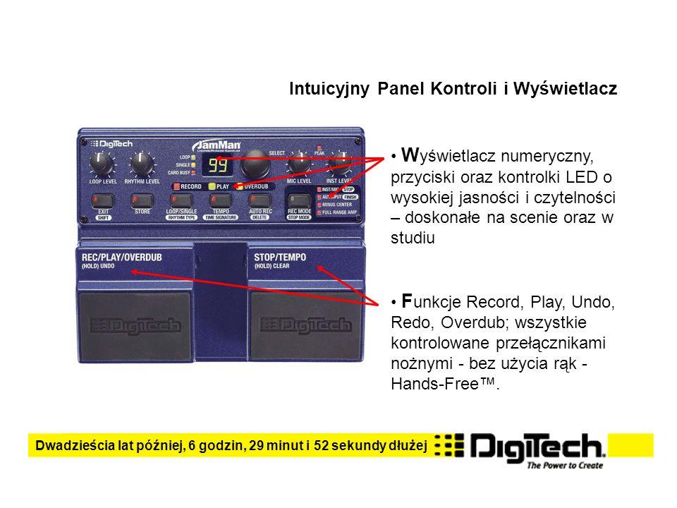 Intuicyjny Panel Kontroli i Wyświetlacz W yświetlacz numeryczny, przyciski oraz kontrolki LED o wysokiej jasności i czytelności – doskonałe na scenie oraz w studiu F unkcje Record, Play, Undo, Redo, Overdub; wszystkie kontrolowane przełącznikami nożnymi - bez użycia rąk - Hands-Free.