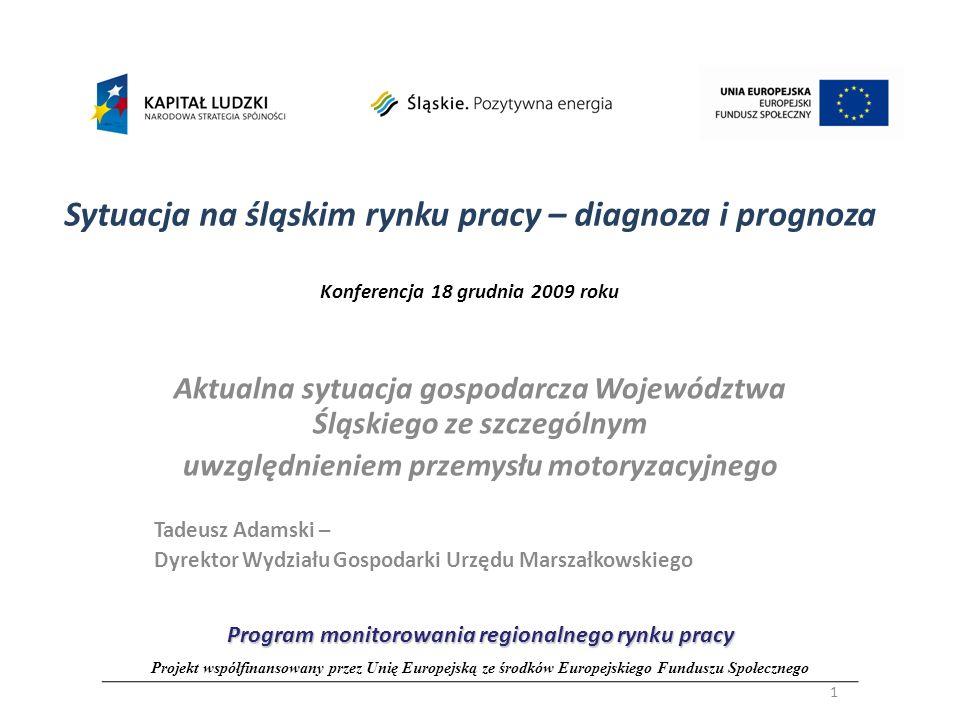 Sytuacja na śląskim rynku pracy – diagnoza i prognoza Konferencja 18 grudnia 2009 roku Aktualna sytuacja gospodarcza Województwa Śląskiego ze szczegól