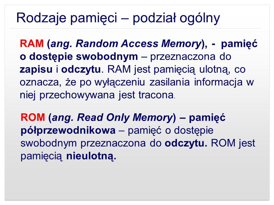 Rodzaje pamięci – podział ogólny RAM (ang. Random Access Memory), - pamięć o dostępie swobodnym – przeznaczona do zapisu i odczytu. RAM jest pamięcią